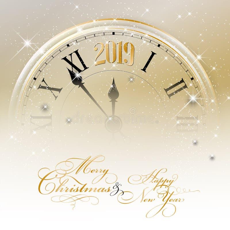 Wesoło boże narodzenia i Szczęśliwa nowego roku 2019 karta ilustracja wektor