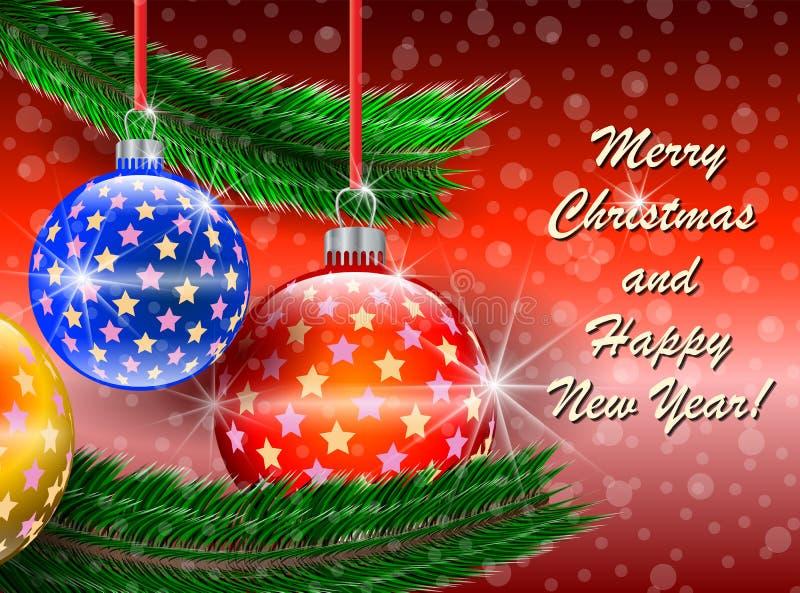 Wesoło Boże Narodzenia i Szczęśliwa Nowego Roku powitań karta ilustracja wektor