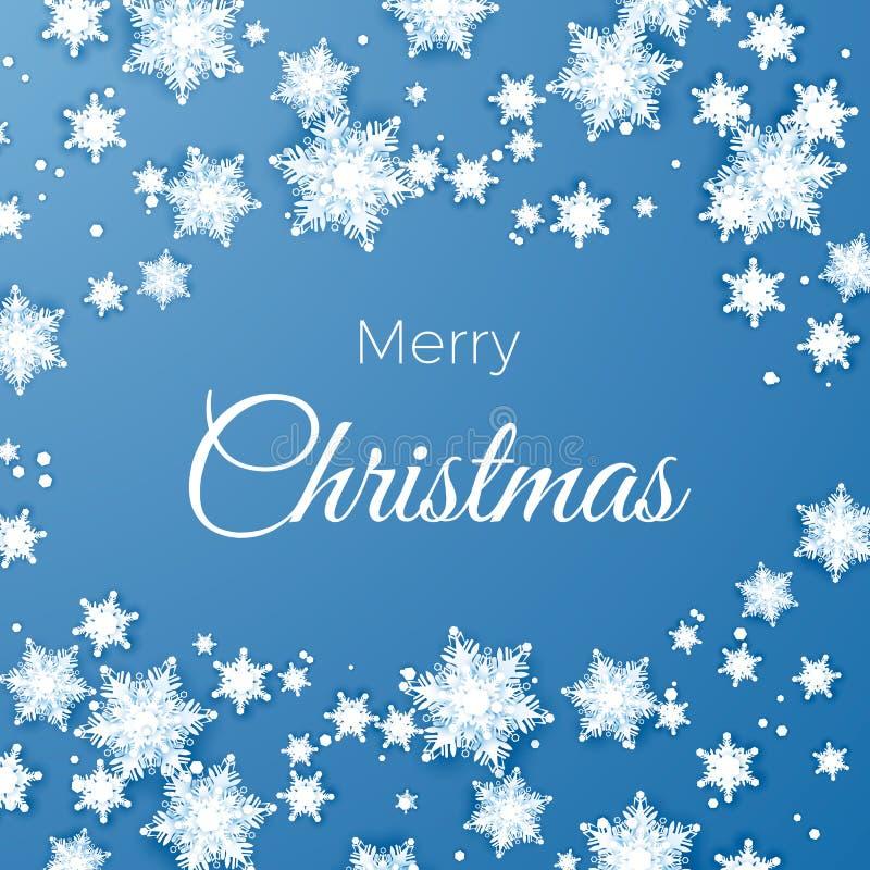 Wesoło boże narodzenia i szczęśliwa nowego roku powitania pocztówka Papierowych płatek śniegu deseniowy tło Origami opad śniegu r ilustracja wektor