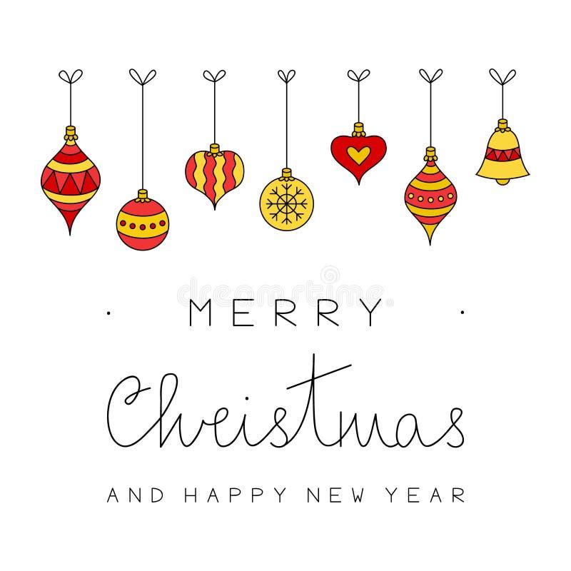 Wesoło boże narodzenia i Szczęśliwa nowego roku wektoru karta royalty ilustracja