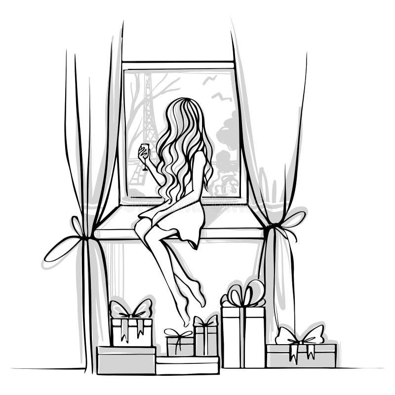 Wesoło boże narodzenia i Szczęśliwa nowego roku wektoru karta mod nakreślenia ilustracja wektor