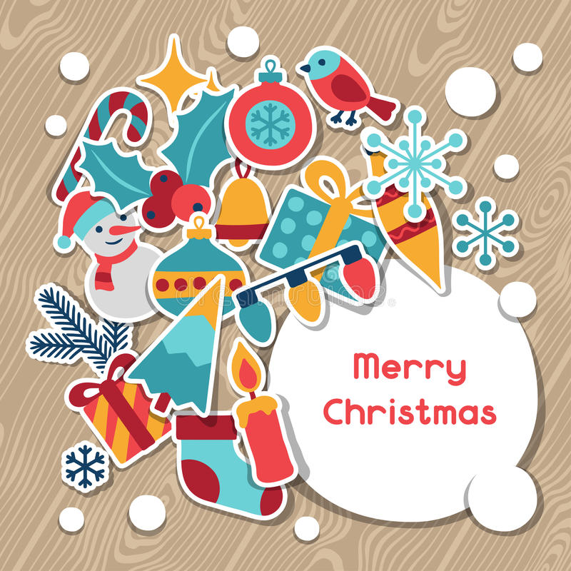 Wesoło boże narodzenia i Szczęśliwa nowego roku zaproszenia karta ilustracji