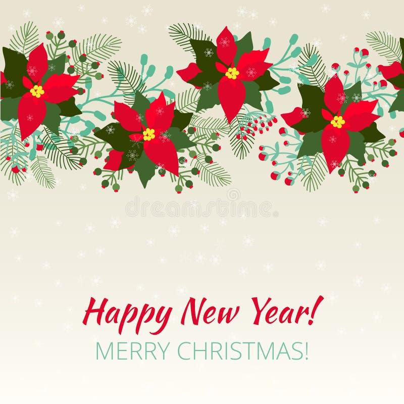 Wesoło boże narodzenia i szczęśliwa nowy rok karta ilustracji