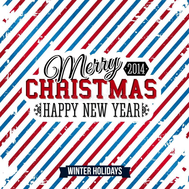 Wesoło boże narodzenia i Szczęśliwa nowy rok karta na jaskrawym stripy backg ilustracji