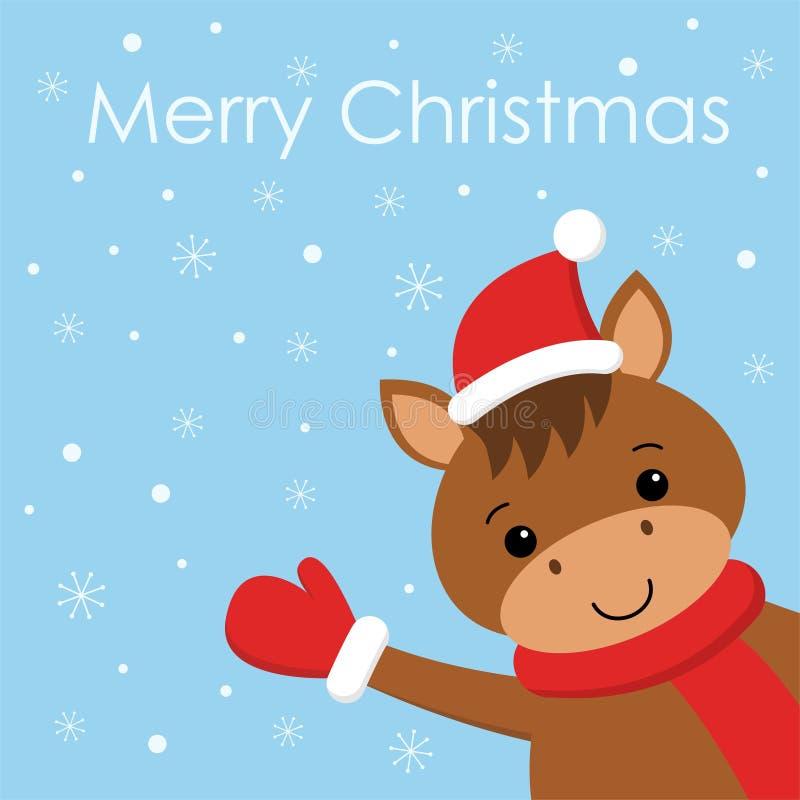 Wesoło boże narodzenia i Szczęśliwa nowy rok karta z śmiesznym koniem w Santa szaliku i kapeluszu przejazd t?a zimy ?niegu ilustracji