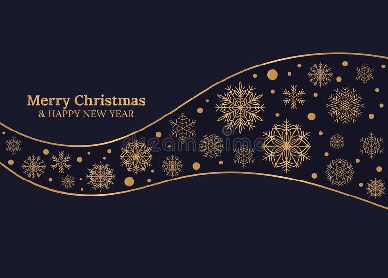 Wesoło boże narodzenia i Szczęśliwa nowy rok karta z złocistymi płatkami śniegu na zmroku - błękitny tło royalty ilustracja