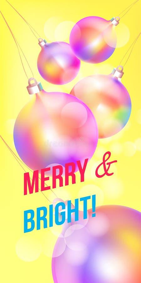 Wesoło boże narodzenia i Szczęśliwa nowy rok kartka z pozdrowieniami kolorowy holograficzny bauble ornament, nowożytny neonowy fo ilustracji