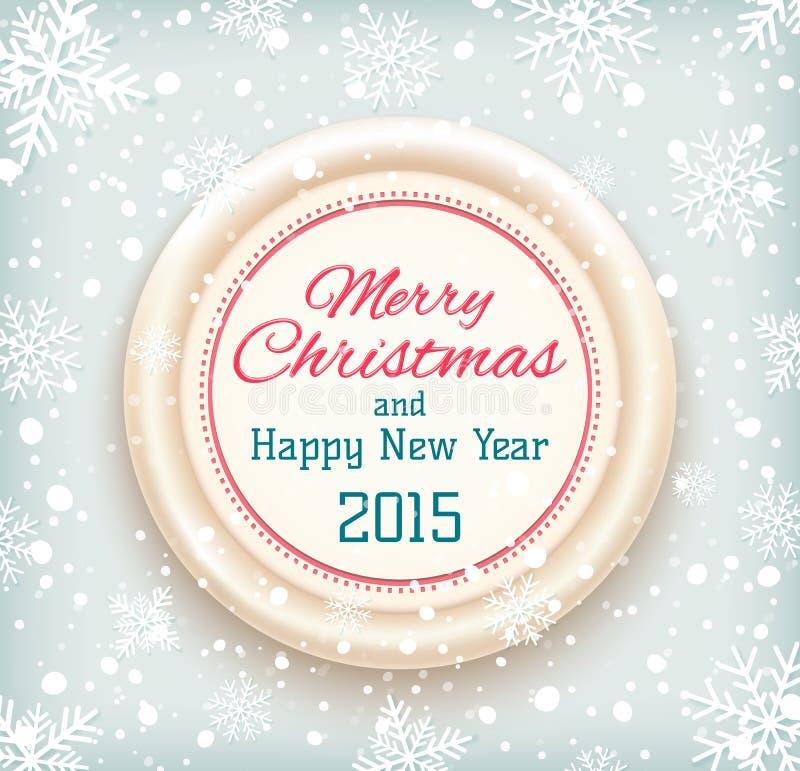 Wesoło boże narodzenia i Szczęśliwa nowy rok 2015 odznaka dalej ilustracji