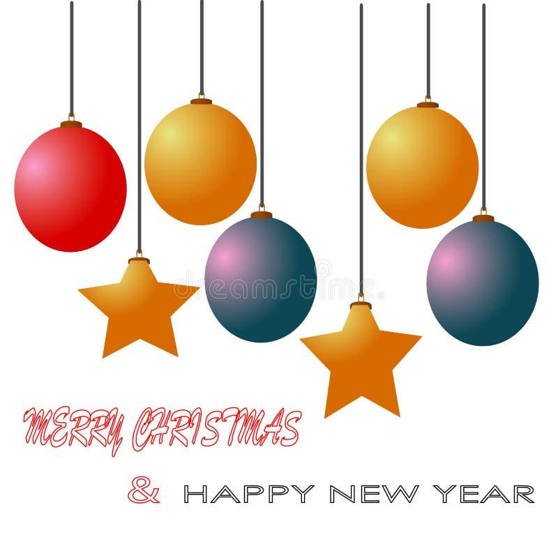 Wesoło boże narodzenia i szczęśliwa nowy rok piłki gwiazd dekoraci ilustracja odizolowywali tło ilustracji