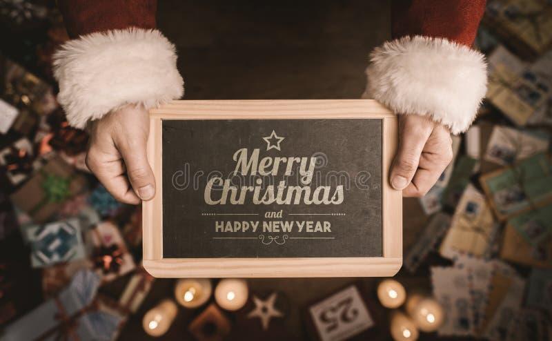 Wesoło boże narodzenia i szczęśliwa nowy rok wiadomość obrazy stock