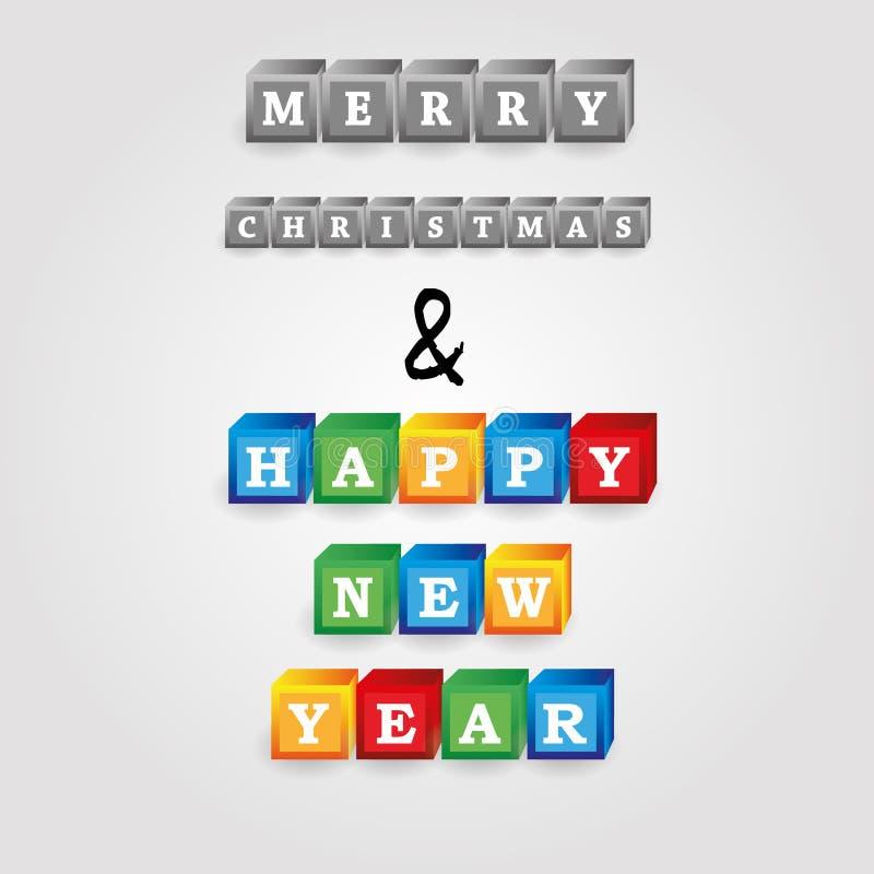Wesoło boże narodzenia i szczęśliwa nowy rok wiadomość od cegieł z liczbami eps10 ilustracja wektor