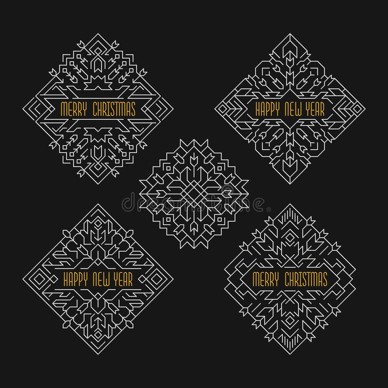 Wesoło boże narodzenia i Szczęśliwe nowy rok odznaki Ramy w kreskowym stylu Wakacji sztandary ilustracji