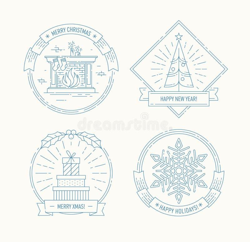 Wesoło boże narodzenia i Szczęśliwe nowy rok odznaki ustawiający ilustracji