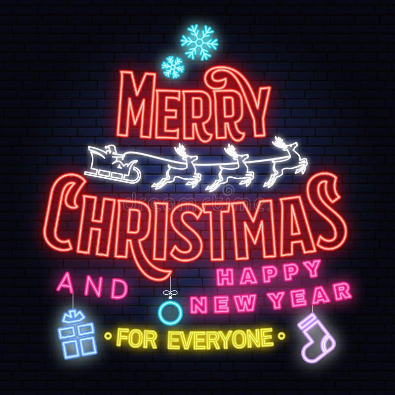 Wesoło boże narodzenia i 2019 Szczęśliwego nowego roku neonowi znaków z aniołami, Santa Claus w saniu z rogaczami i boże narodzen royalty ilustracja