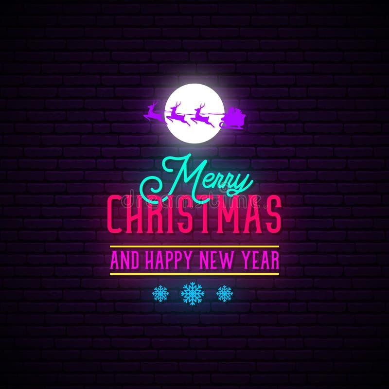 Wesoło boże narodzenia i szczęśliwego nowego roku Neonowy znak ilustracja wektor