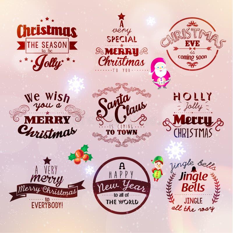 Wesoło boże narodzenia i Szczęśliwi nowego roku 2015 powitania ilustracja wektor