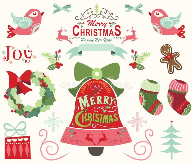 Wesoło boże narodzenia i Szczęśliwi nowy rok elementy ilustracji