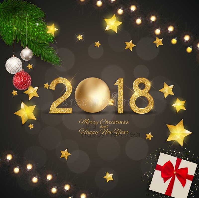 Wesoło boże narodzenia i 2018 Szczęśliwi nowy rok tło również zwrócić corel ilustracji wektora ilustracji