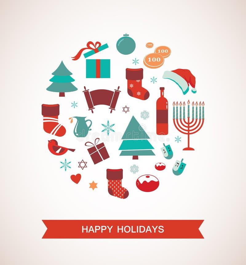 Wesoło boże narodzenia i szczęśliwy Hanukkah Sezonowi przedmioty ilustracji