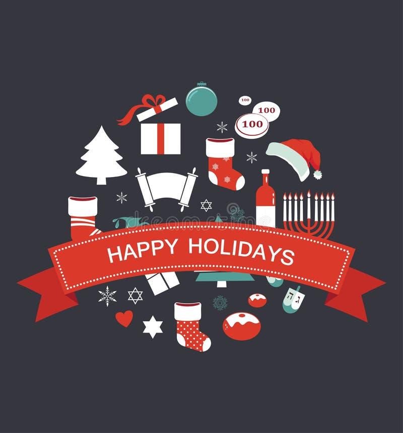 Wesoło boże narodzenia i szczęśliwy Hanukkah Sezonowi przedmioty