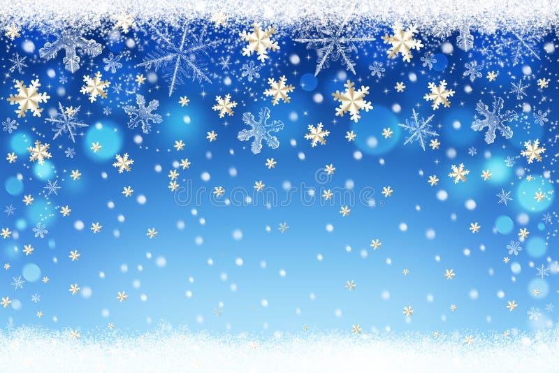 Wesoło boże narodzenia i Szczęśliwy nowego roku śniegu tło royalty ilustracja