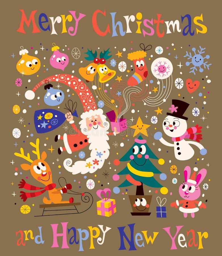 Wesoło boże narodzenia i Szczęśliwy nowego roku kartka z pozdrowieniami ilustracji