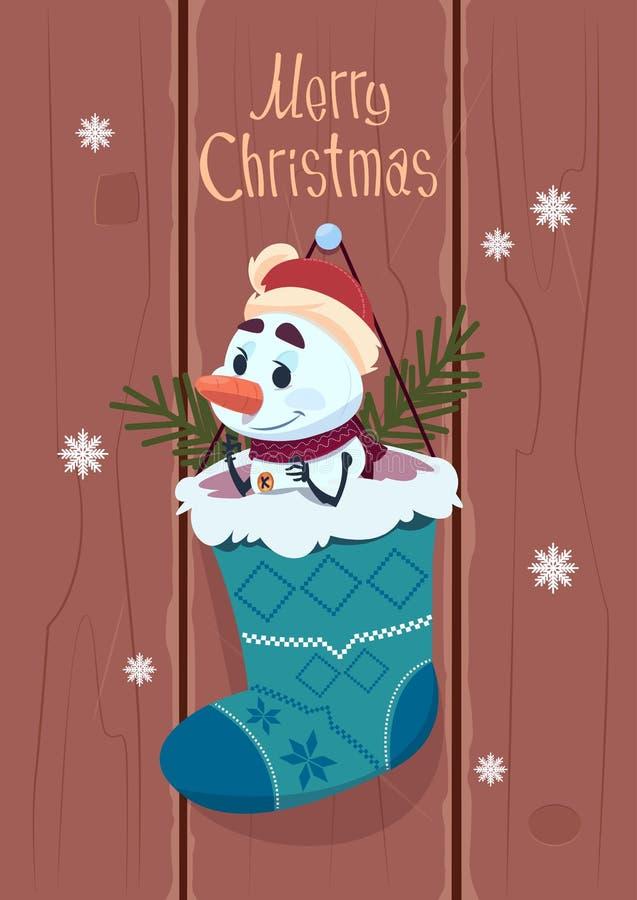 Wesoło boże narodzenia I Szczęśliwy nowego roku kartka z pozdrowieniami Z bałwanu obwieszeniem W Teraźniejszym skarpety zimy waka ilustracji