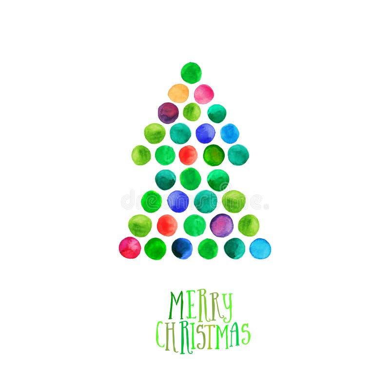 Wesoło boże narodzenia i Szczęśliwy nowego roku kartka z pozdrowieniami, choinka robić akwarela okręgi Akwareli Xmas drzewo Odizo ilustracji