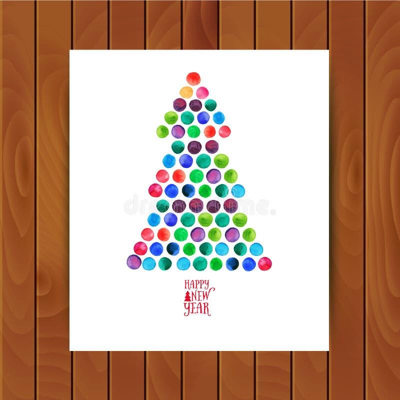 Wesoło boże narodzenia i Szczęśliwy nowego roku kartka z pozdrowieniami, choinka robić akwarela okręgi Akwareli Xmas drzewo na ilustracja wektor