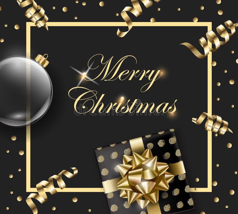 Wesoło boże narodzenia i Szczęśliwy nowego roku kartka z pozdrowieniami z jedlinowymi gałąź, Bożenarodzeniowy prezent z dekoracja ilustracji