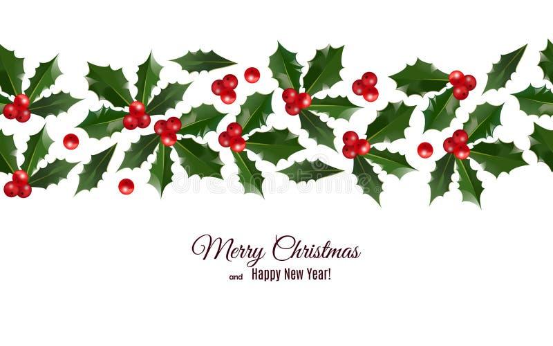 Wesoło boże narodzenia i Szczęśliwy nowego roku kartka z pozdrowieniami z uświęconych jagod bezszwowym wzorem graniczą ilustracja wektor