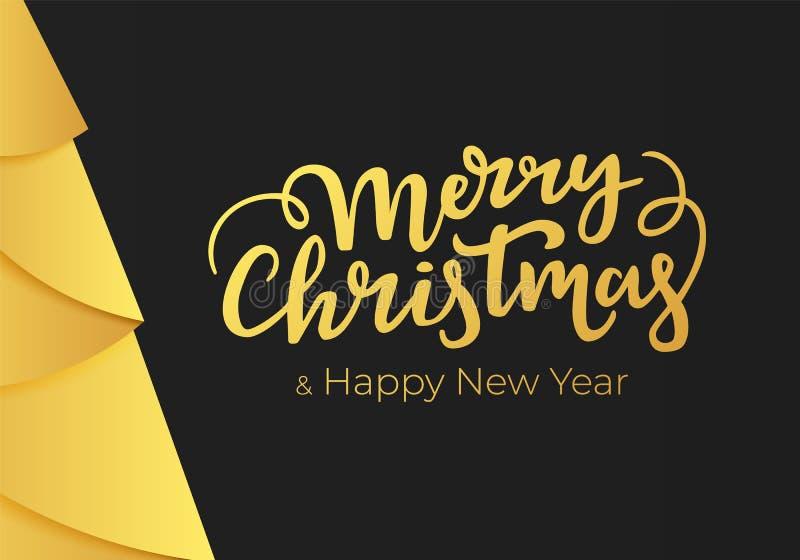Wesoło boże narodzenia i Szczęśliwy nowego roku literowanie na czarnym tle z dekoracjami złocista folia Zima wakacje pocztówkowi  royalty ilustracja