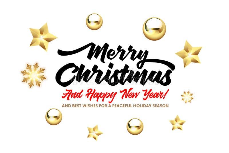 Wesoło boże narodzenia i Szczęśliwy nowego roku literowanie z, złotymi boże narodzenie gwiazdami, piłkami na białym tle i ilustracji