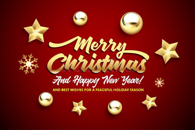 Wesoło boże narodzenia i Szczęśliwy nowego roku literowanie z, złotymi boże narodzenie gwiazdami, piłkami na czerwonym tle i ilustracja wektor