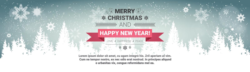 Wesoło boże narodzenia I Szczęśliwy nowego roku pojęcia zimy wakacji kartka z pozdrowieniami Nad Przejrzystym Lasowym tłem royalty ilustracja