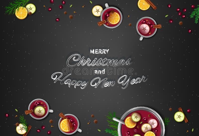 Wesoło boże narodzenia i Szczęśliwy nowego roku powitania tło ilustracja wektor