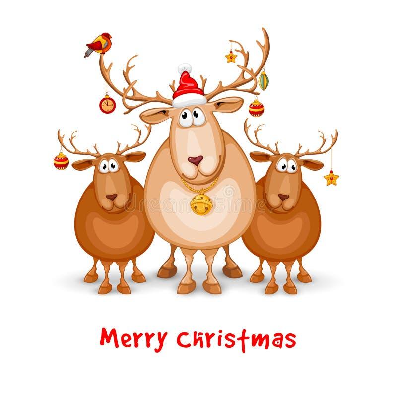 Wesoło boże narodzenia i Szczęśliwy nowego roku powitanie ilustracji