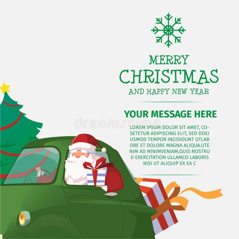 Wesoło boże narodzenia i Szczęśliwy nowego roku Santa przejażdżki samochód ilustracji