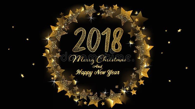 Wesoło boże narodzenia i Szczęśliwy nowego roku 2018 sztandar ilustracja wektor