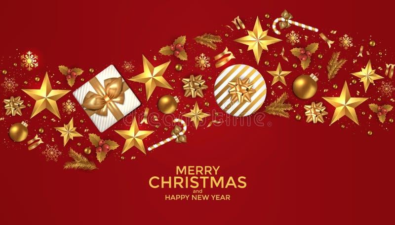 Wesoło boże narodzenia i Szczęśliwy nowego roku tła projekt ilustracji