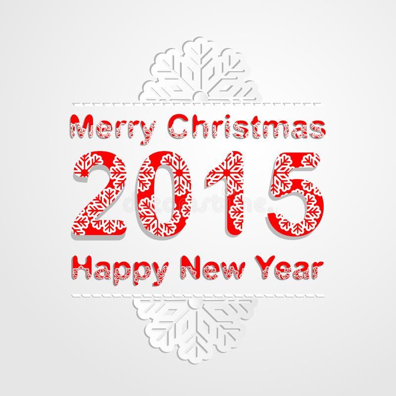 Wesoło boże narodzenia i szczęśliwy nowego roku 2015 tło Płatek śniegu deseniowa chrzcielnica ilustracji