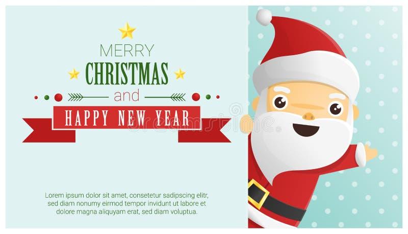 Wesoło boże narodzenia i Szczęśliwy nowego roku tło z Święty Mikołaj pozycją za billboardem royalty ilustracja