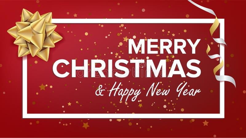 Wesoło boże narodzenia I Szczęśliwy nowego roku teksta wektor karciany bożego narodzenia powitanie Nowożytny nowego roku plakat,  royalty ilustracja