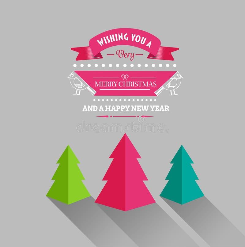 Wesoło boże narodzenia i szczęśliwy nowego roku wektor z drzewami ilustracji