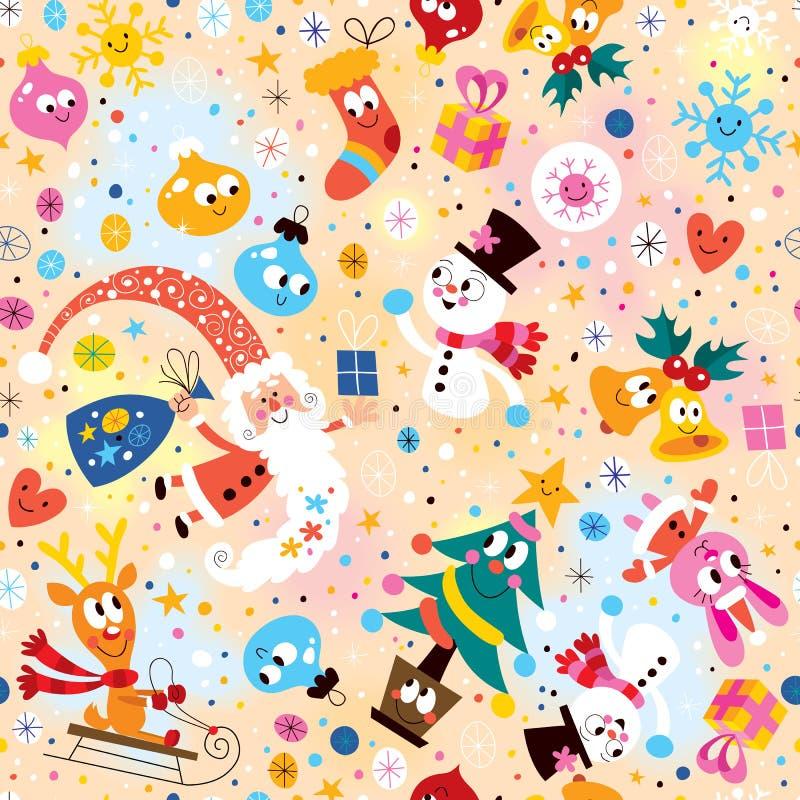 Wesoło boże narodzenia i Szczęśliwy nowego roku wzór ilustracja wektor