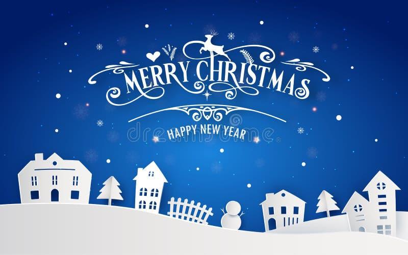 Wesoło boże narodzenia i Szczęśliwy nowy rok śnieżny rodzinne miasteczko z typografii chrzcielnicy wiadomością Błękitna koloru pa ilustracja wektor