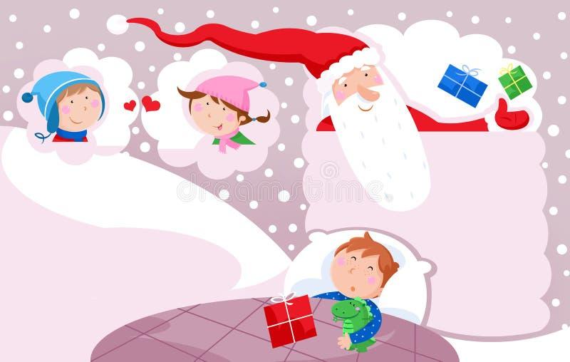 Wesoło boże narodzenia i Szczęśliwy nowy rok - Święty Mikołaj uroczy małe dzieci, zabawki i Bożenarodzeniowe teraźniejszość, royalty ilustracja
