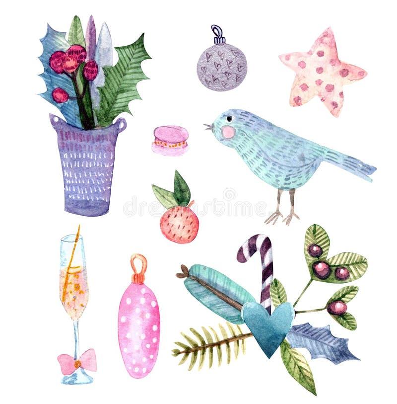 Wesoło boże narodzenia i Szczęśliwy nowy rok akwareli set ilustracji