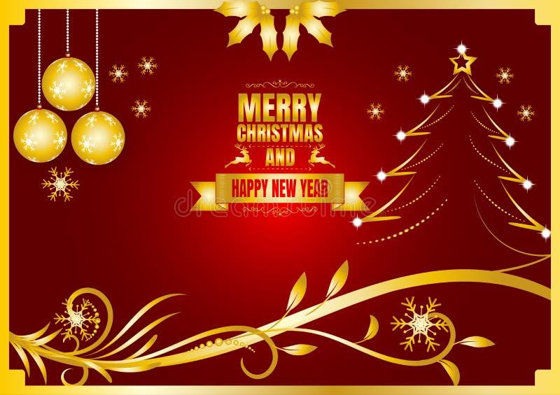 Wesoło boże narodzenia i szczęśliwy nowy rok barwią złoto i czerwień ilustracja wektor