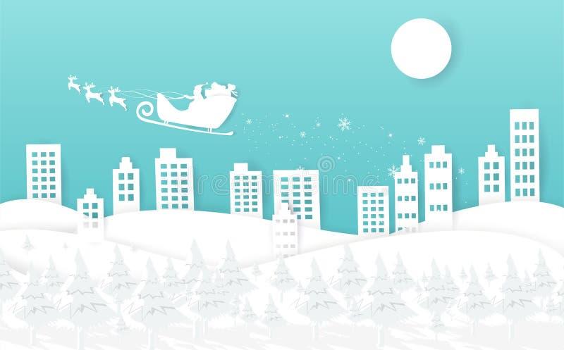 Wesoło boże narodzenia i Szczęśliwy nowy rok, biała zima z Santa Clau royalty ilustracja